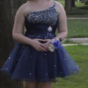 Blue sparkly short homecoming dress